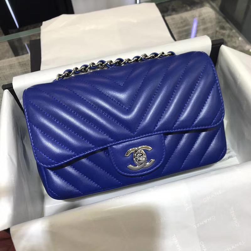 香奈儿 CHANEL Classic Flap V字绣 进口小羊皮 25cm 电光蓝 银扣 少量现货