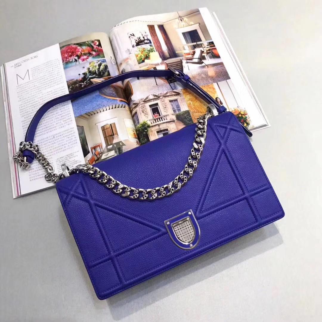 Dior 腾格纹 25cm/21cm 银色链条 电光蓝 专柜同步