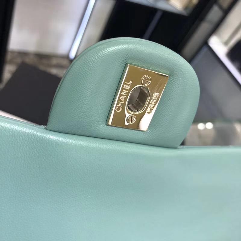 Chanel 香奈儿 CF 经典系列 羊皮 薄荷绿 25cm 香槟金 现货