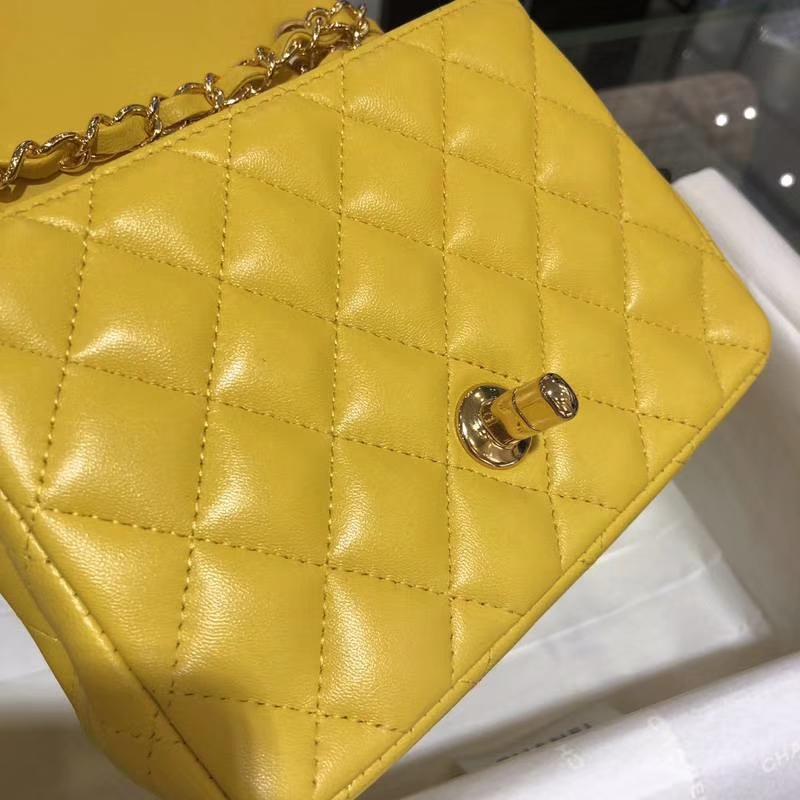 Chanel 香奈儿  CF 经典系列 羊皮 明亮黄 17cm 金扣 现货