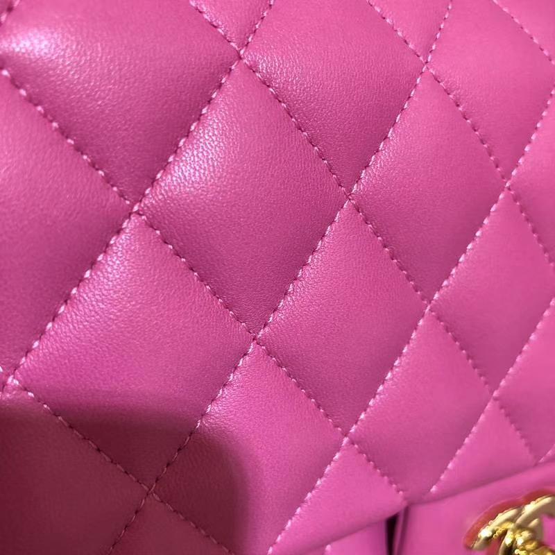 Chanel 香奈儿  Classic Flap  进口小羊皮 25cm 玫红 金扣
