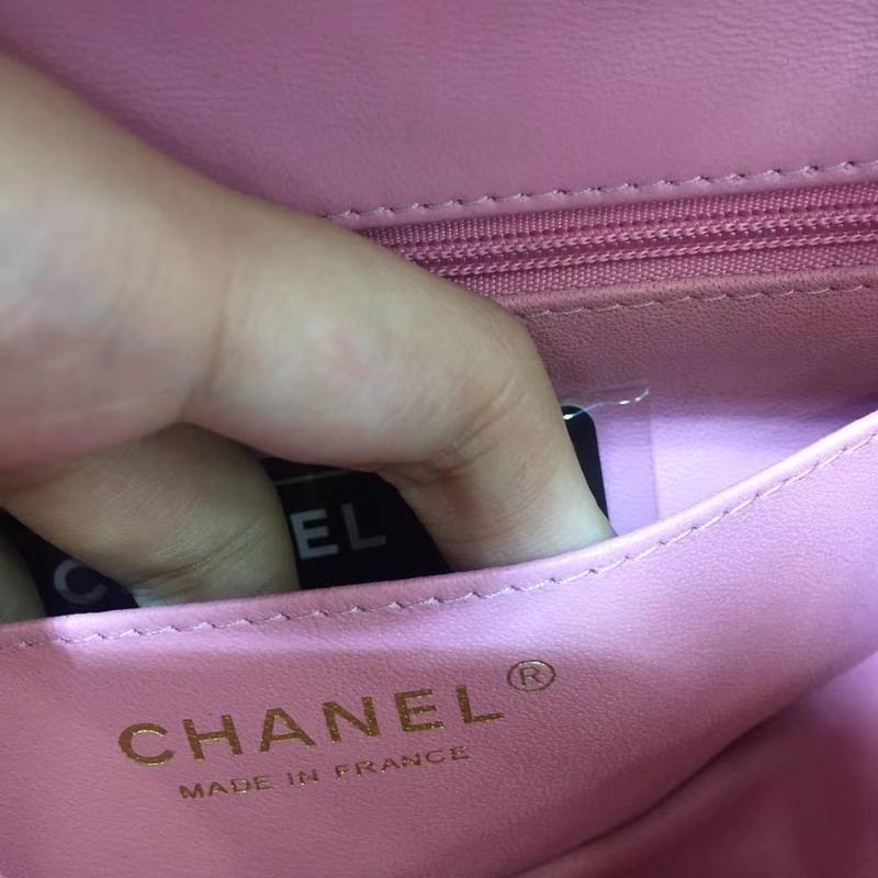 Chanel 香奈儿  Classic Flap  进口小羊皮 20cm 桃粉色 金扣