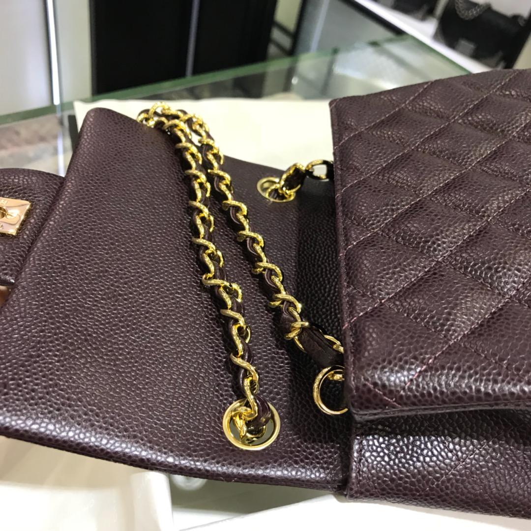 CF 小香 最经典系列 鱼子酱 咖啡色配金色五金 mini方胖子 17cm 现货