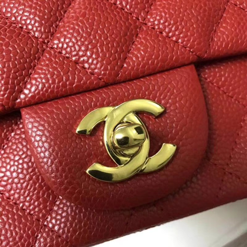 Chanel 香奈儿 Chanel Classic Flap cf 鱼子酱 17cm 大红 金扣 现货