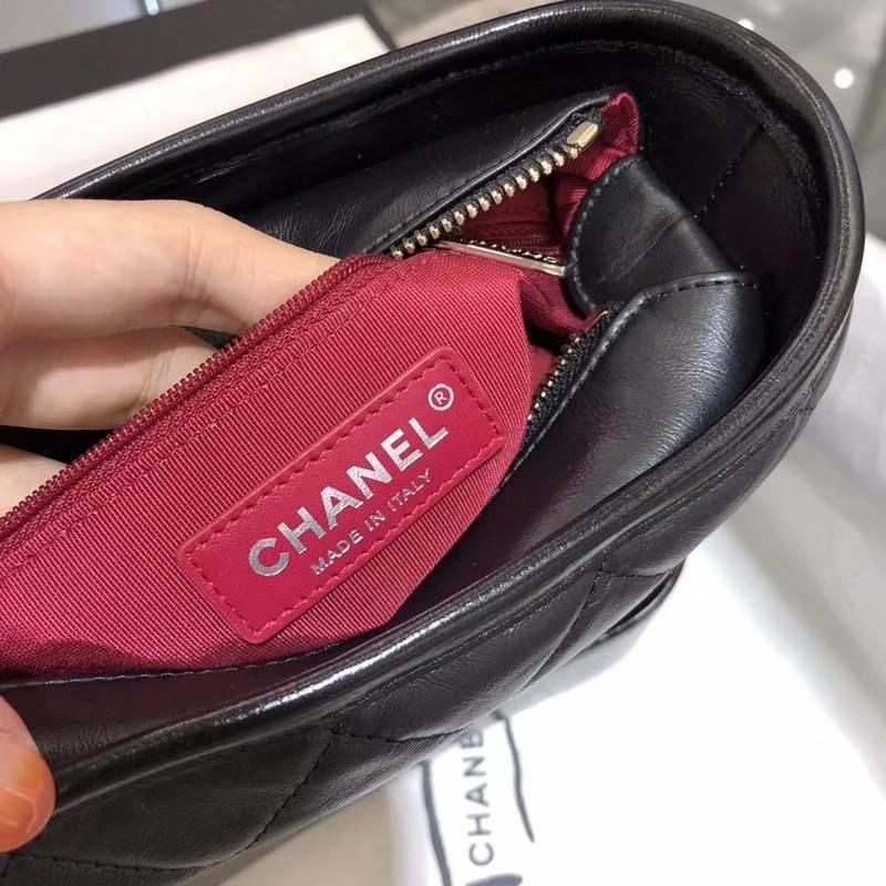 CHANEL GABRIELLE 流浪包  进口小牛皮双色金属精裁而成 实拍图 黑色 20cm