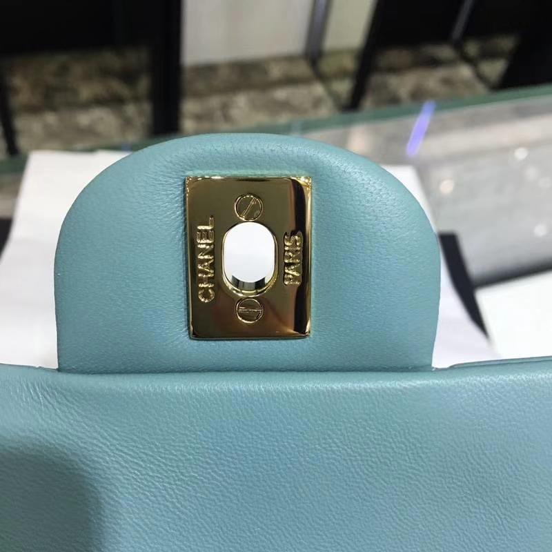 Chanel 香奈儿 Classic Flap Bag 进口小羊皮 20cm 现货 薄荷绿 金扣