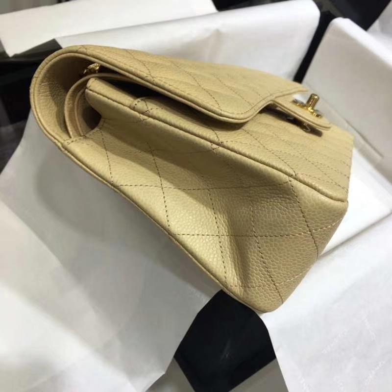 Chanel 香奈儿  Classic Flap Bag  进口鱼子酱 25cm 现货 杏色 金扣