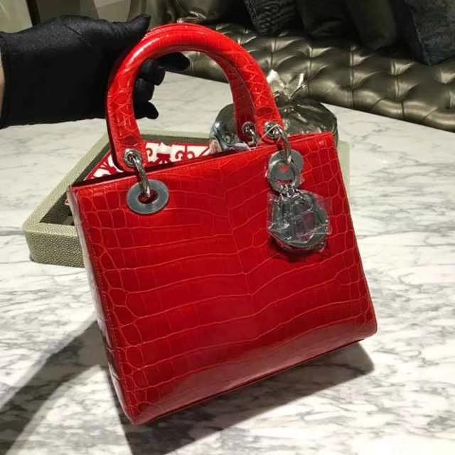Dior 迪奥 戴妃包 Lady Dior VIP私人定制鳄鱼 5格 24cm 戴妃