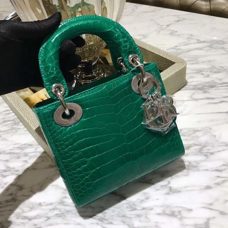Dior 迪奥 戴妃包 Lady Dior VIP私人定制鳄鱼 3格翡翠绿