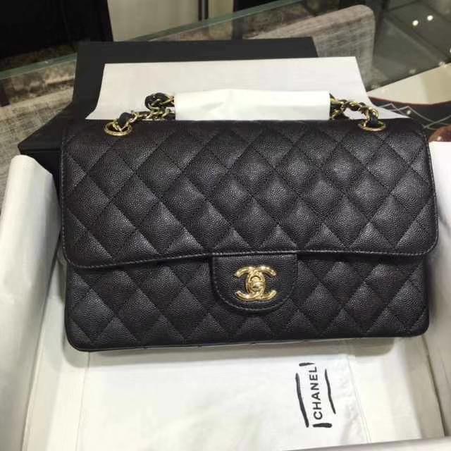 Chanel 香奈儿 Classic Flap Bag  进口小鱼子酱 25cm 现货  黑色 香槟金