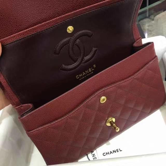 Chanel 香奈儿 Classic Flap Bag  进口小鱼子酱 25cm 酒红 金扣