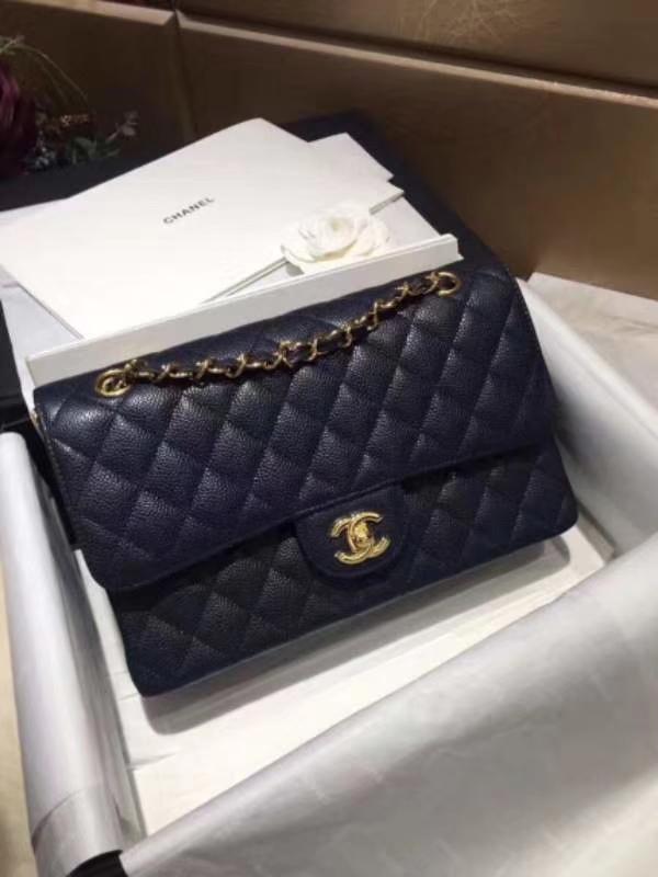 Chanel 香奈儿 Classic Flap Bag  进口鱼子酱 25cm 海军蓝 金扣