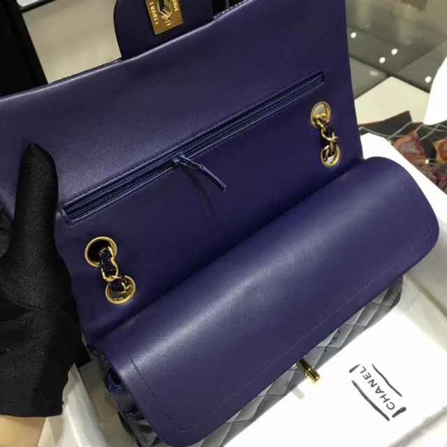 Chanel 香奈儿 Classic Flap Bag  进口漆皮 25cm 海军蓝 金扣