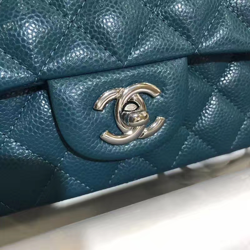 Chanel 香奈儿 Classic Flap Bag 鱼子酱 20cm 孔雀蓝 银扣 进出专柜无压力