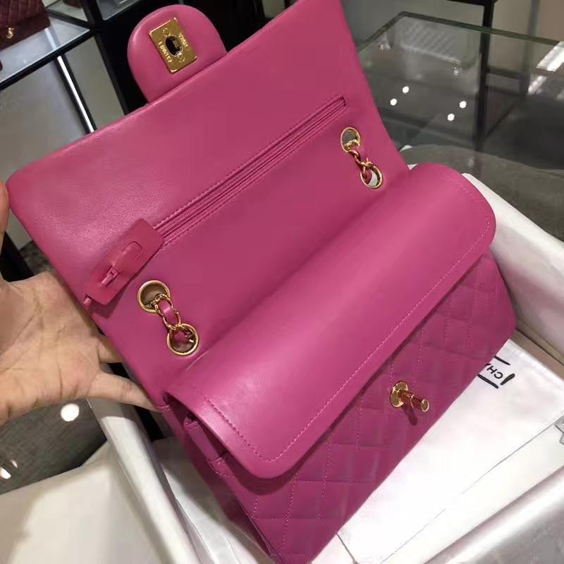 Chanel 香奈儿 Classic Flap Bag 法国进口小羊皮  25cm 梅红色 金扣
