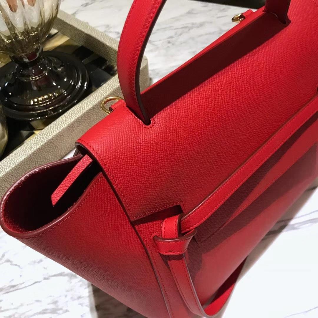 Celine 鲶鱼包 Mini 24cm~27cm 大红 现货秒发 掌纹皮 进口原厂皮 原装YKK钢扣拉链