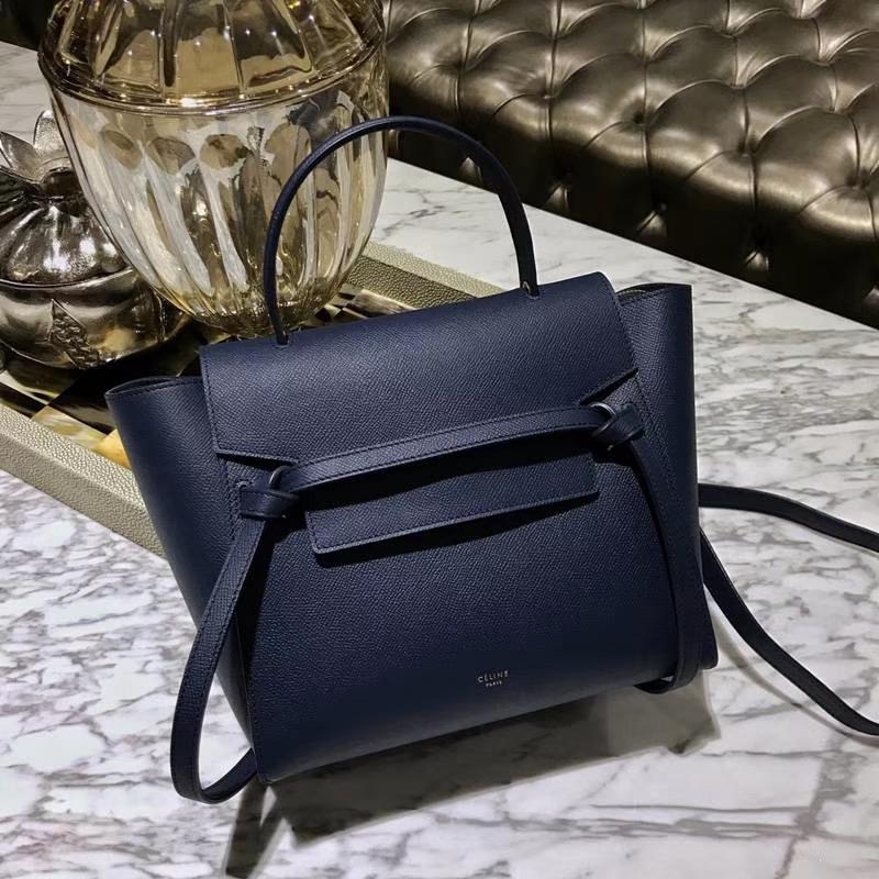 Celine鲶鱼包(24cm~27cm)蓝色实拍  法国 进口掌纹牛皮原装YKK钢扣拉链
