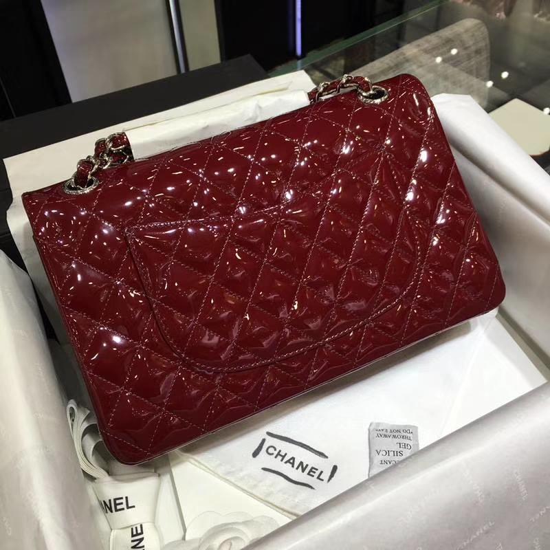 Chanel 香奈儿 Classic Flap Bag  进口漆皮 25cm 酒红 银扣