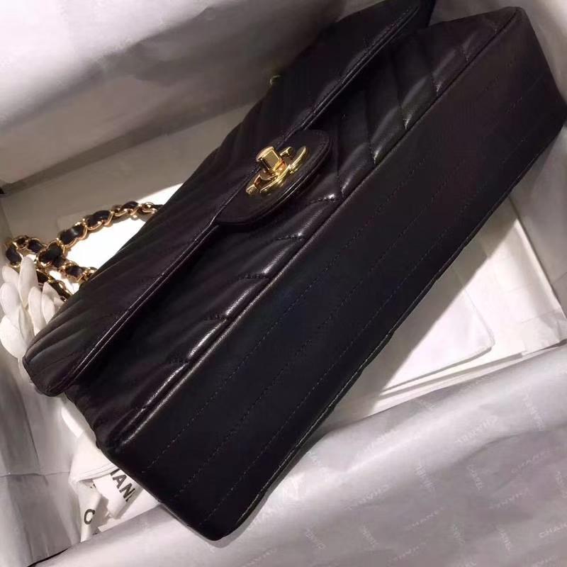 Chanel 香奈儿 ClassicFlapVBag 进口小羊皮25cm 进出专柜品质 黑色车边款金扣