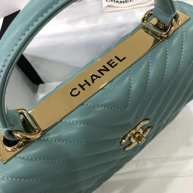 Chanel 香奈儿 2018年新款Trendy CC 大V款 薄荷绿香槟金 现货