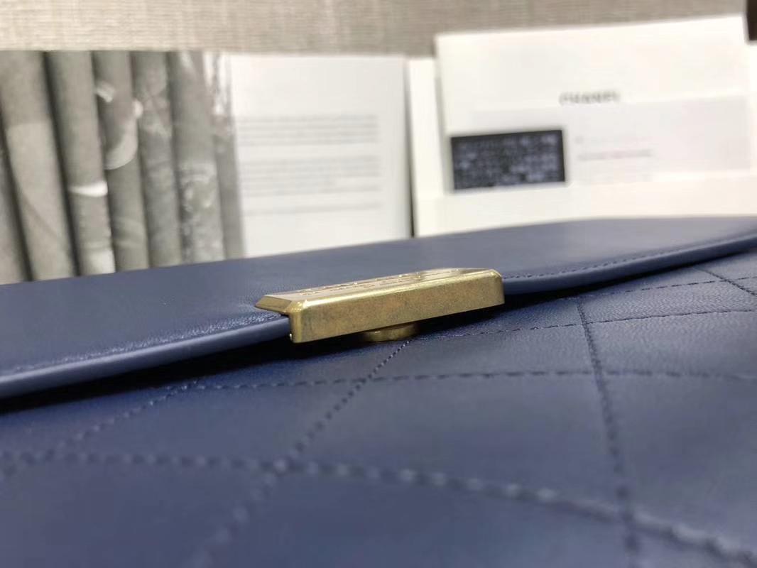 2018年新款口盖包 进口小羊皮 金色金属黄 宝石蓝28cm