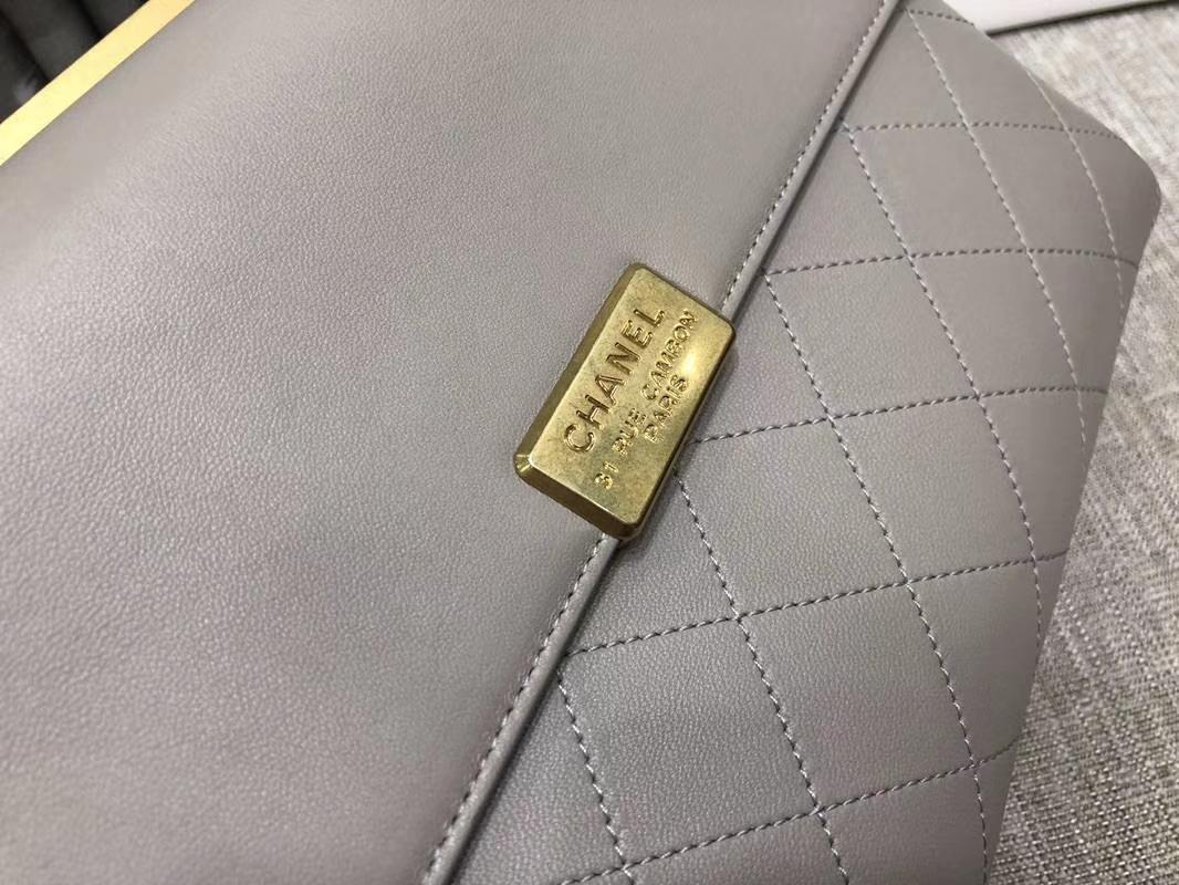 2018年新款口盖包 进口小羊皮 金色金属黄 大象灰28cm