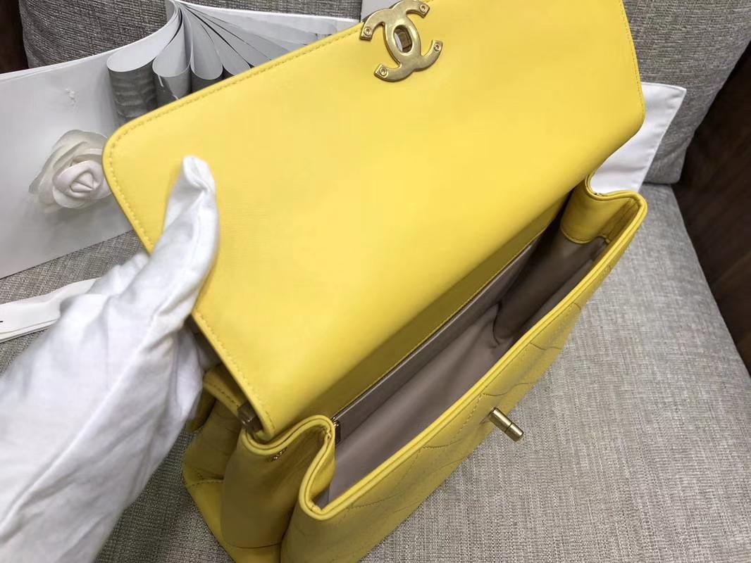 2018年新款口盖包 进口小羊皮 金色金属黄 柠檬黄23cm 28cm
