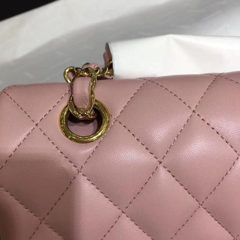 Chanel 香奈儿 进口小羊皮 25cm 现货 浅粉 金扣