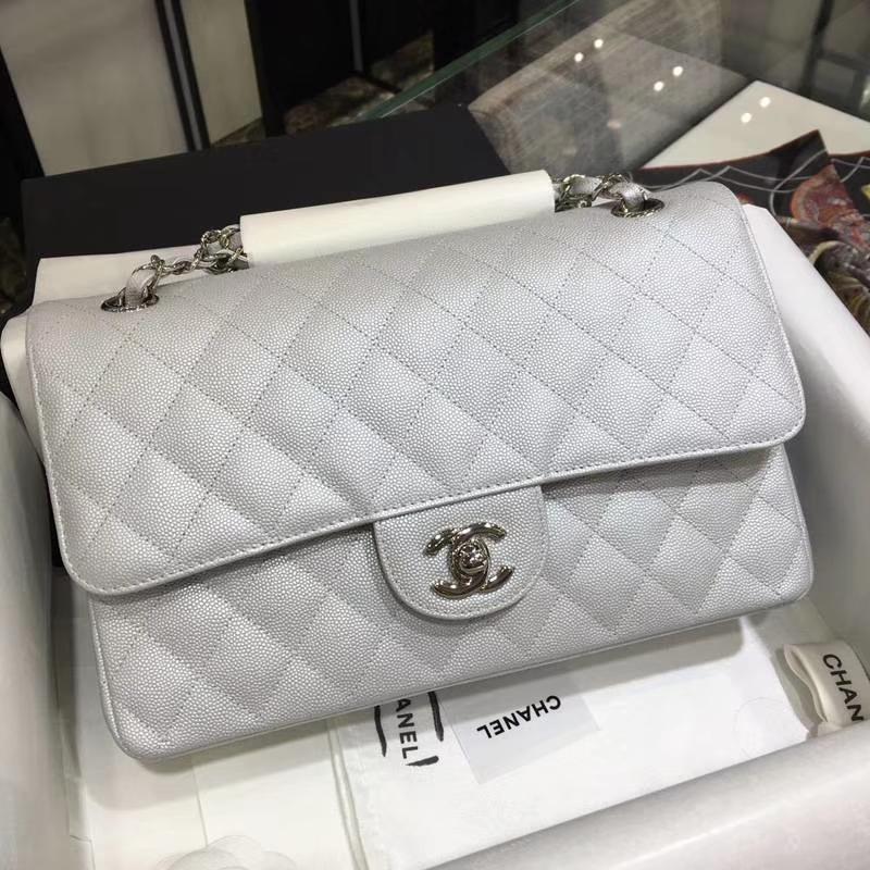 Chanel 香奈儿 Classic Flap Bag  进口小鱼子酱 25cm 现货 银色 银扣