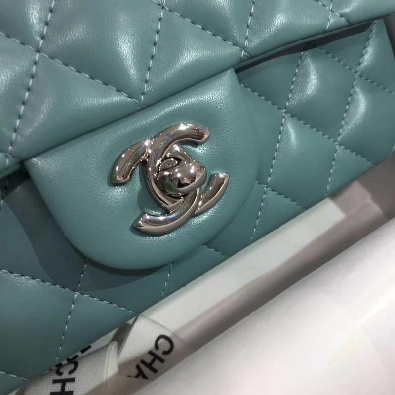 Chanel 香奈儿 Classic Flap Bag 进口小羊皮 20cm 现货 薄荷绿 银扣