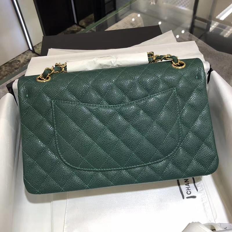 Chanel 香奈儿 Classic Flap Bag 鱼子酱  25cm 孔雀绿 金扣 现货