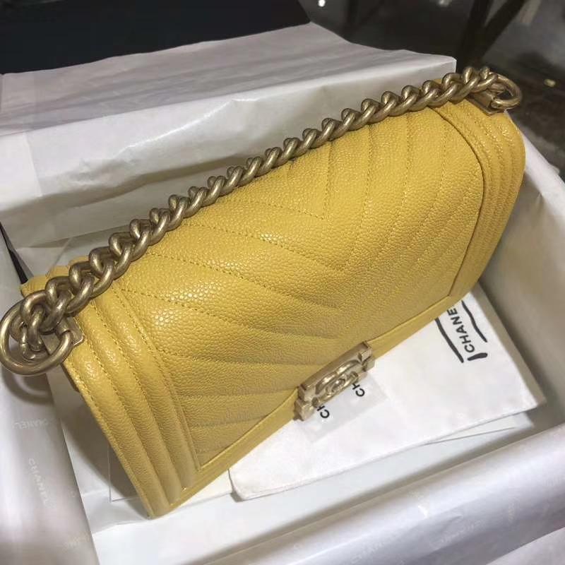 Chanel 香奈儿 Leboy Bag 大V款 鱼子酱 芒果黄 沙金 25cm