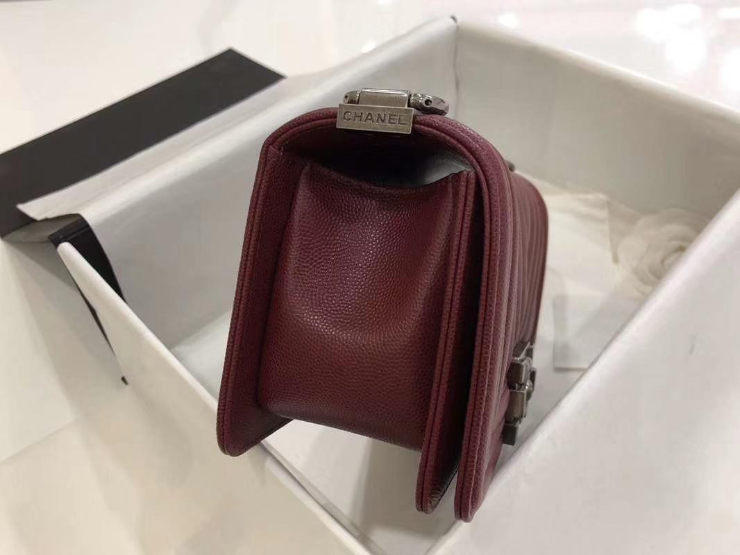 Chanel Leboy Bag 大V款 小鱼子酱 20cm 酒红色 古银