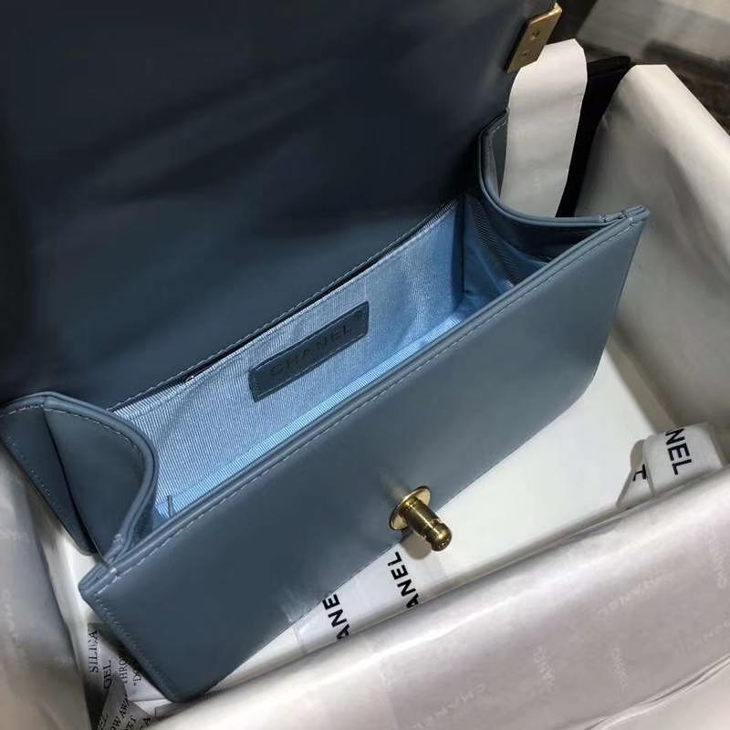 Chanel 香奈儿 Leboy Bag 大V款 小羊皮 20cm 梦幻兰 亚金