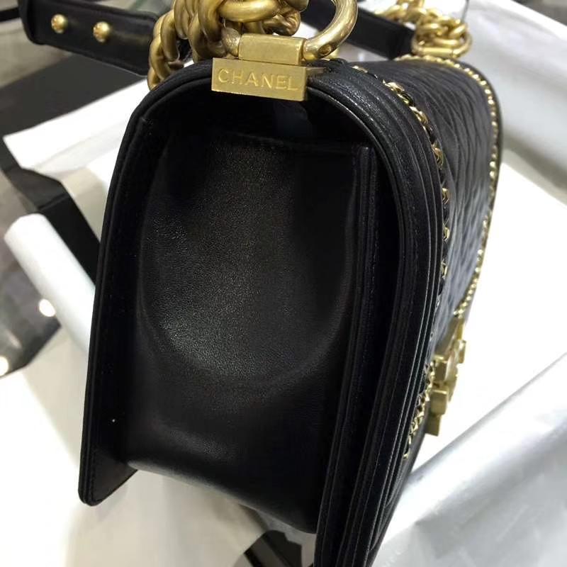 Chanel 香奈儿  Leboy Bag 链条款 小羊皮 25cm 黑色 沙金