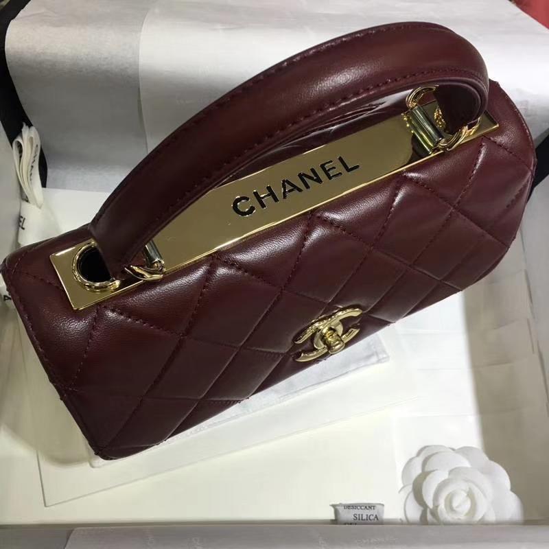 Chanel 香奈儿 Trendy CC 小羊皮 酒红色 25cm 现货 金扣