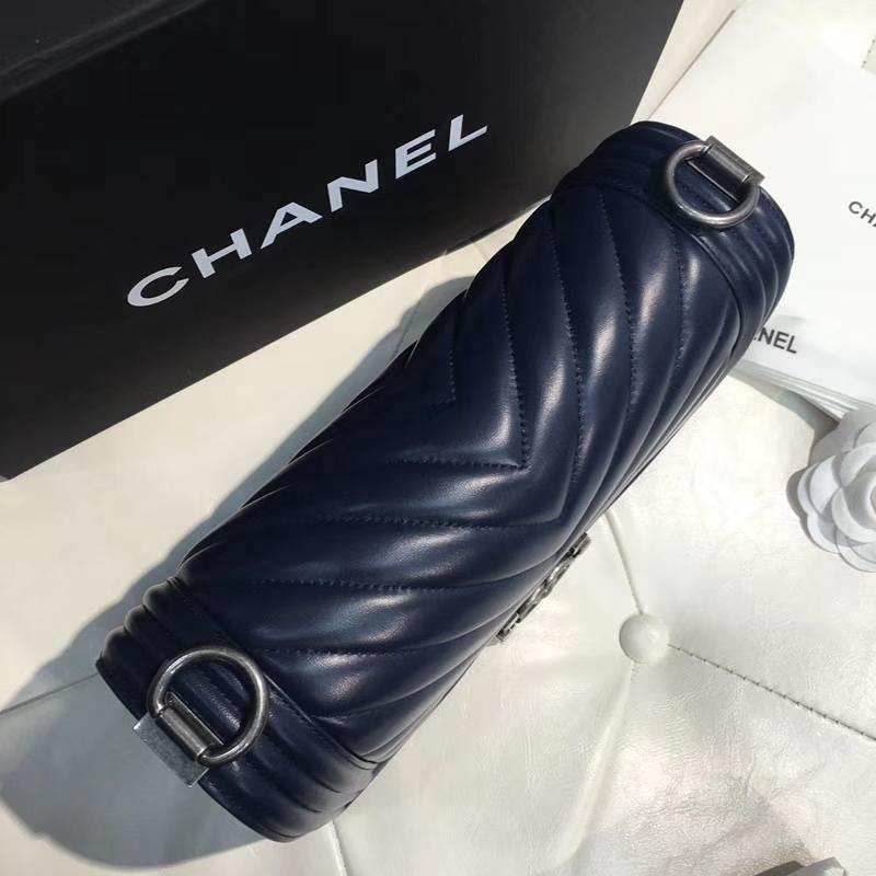 Chanel 香奈儿 leboy 25cm 胎牛皮 宝石蓝 古银 大V