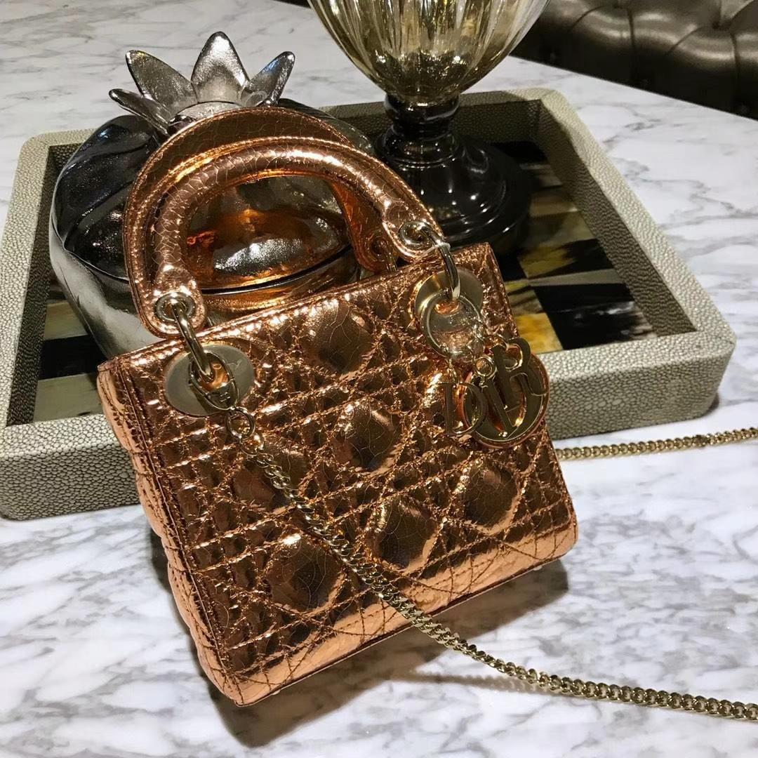 Dior 迪奥 戴妃包 Lady Dior 三格 鹿皮爆裂纹 金属铜色