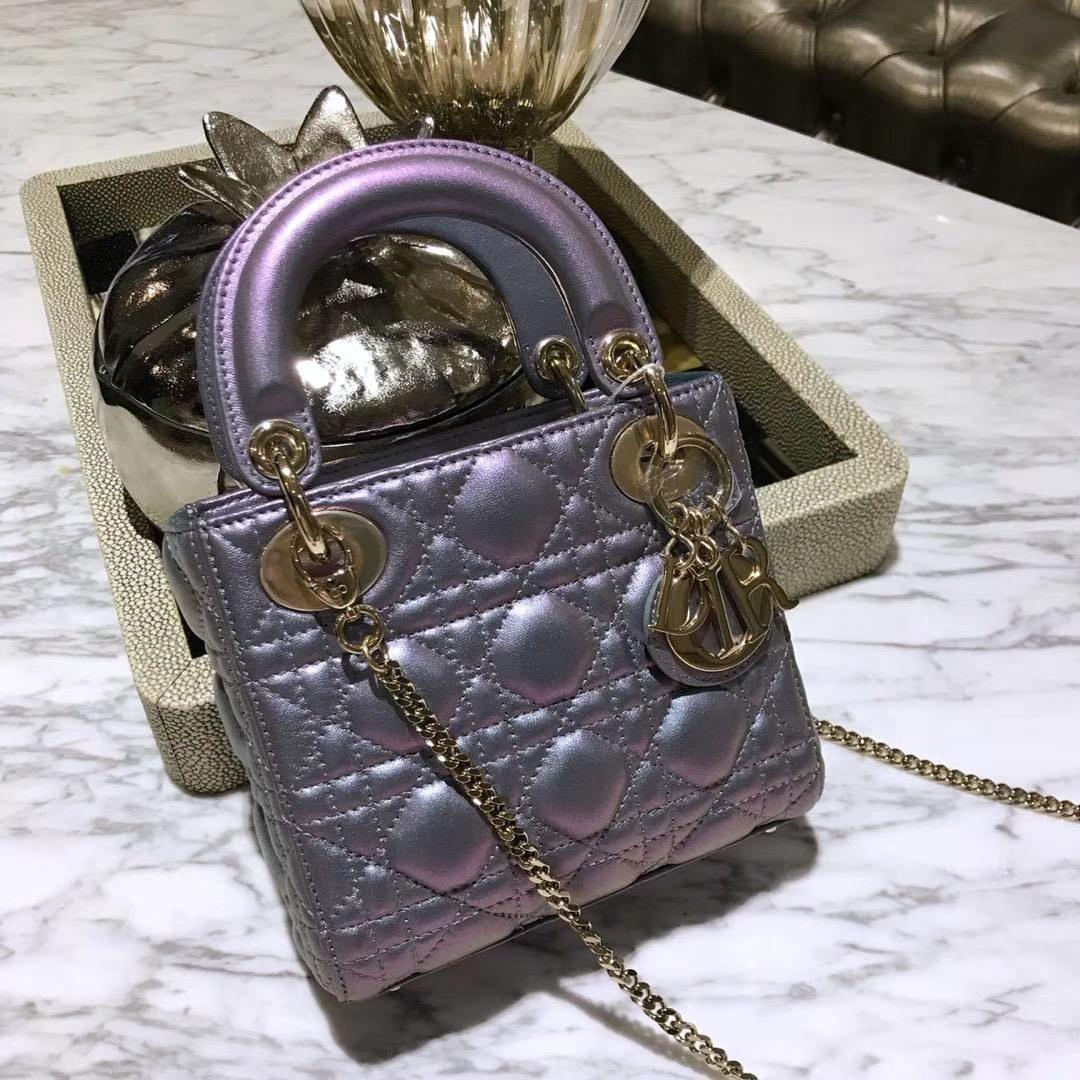 Dior 迪奥 戴妃包 Lady Dior 三格小羊皮戴妃 珠光皮 粉紫色