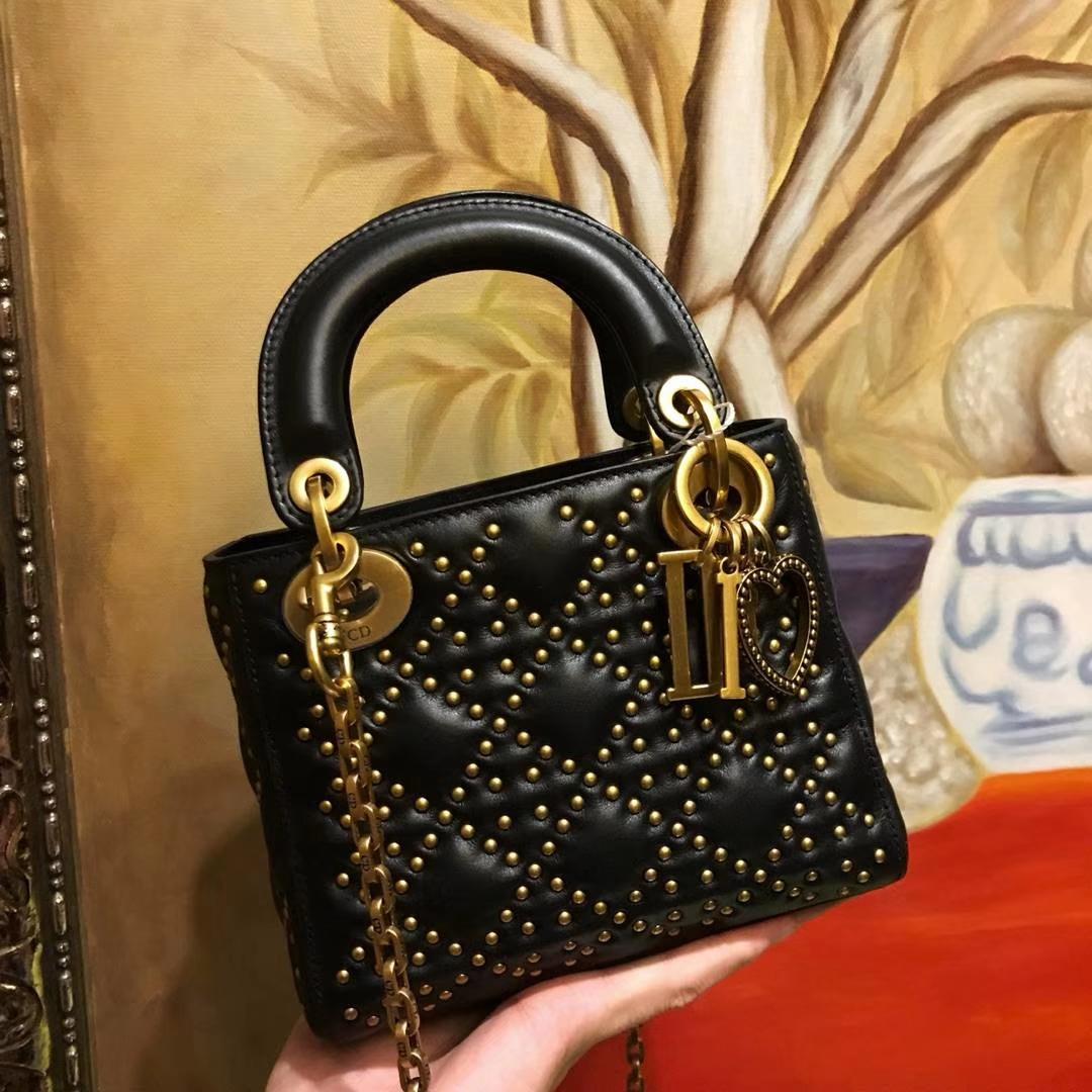 Dior 迪奥 戴妃包 Lady Dior 小号17cm 牛皮铆钉包 女神专属黑色