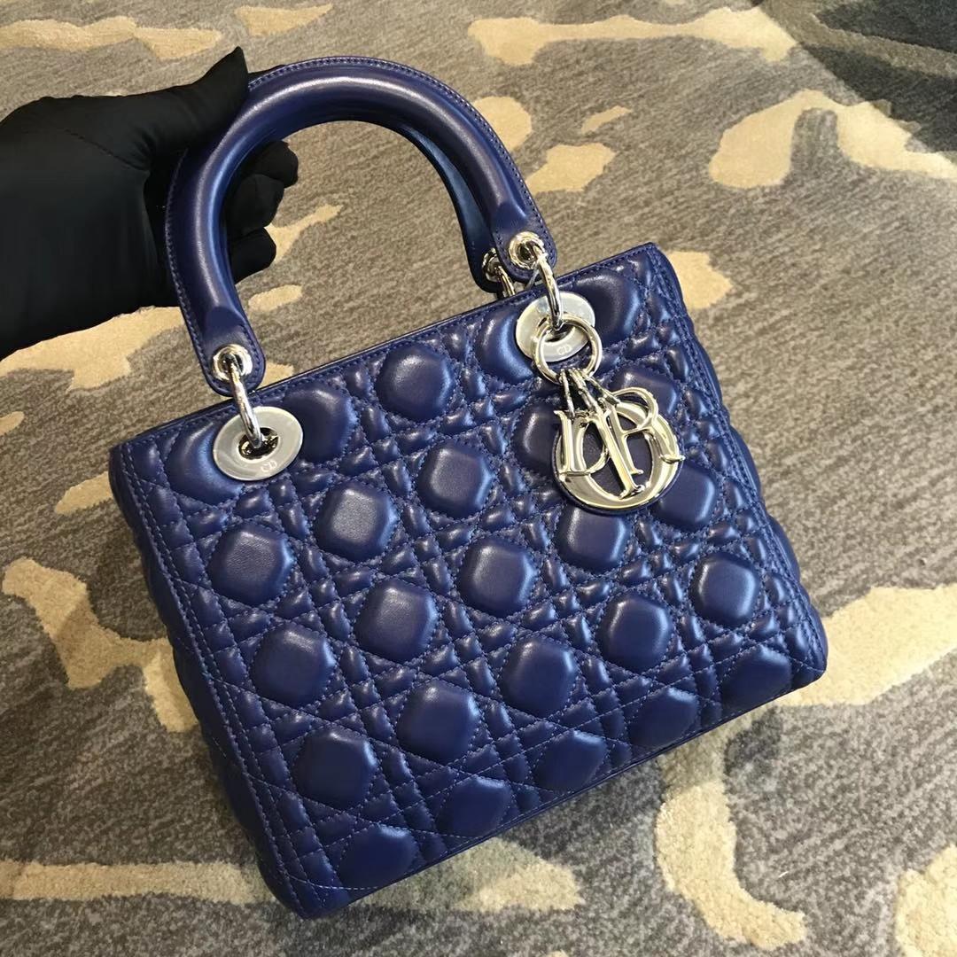 Dior 迪奥 经典羊皮 戴妃包 Lady Dior五格24cm 宝石蓝