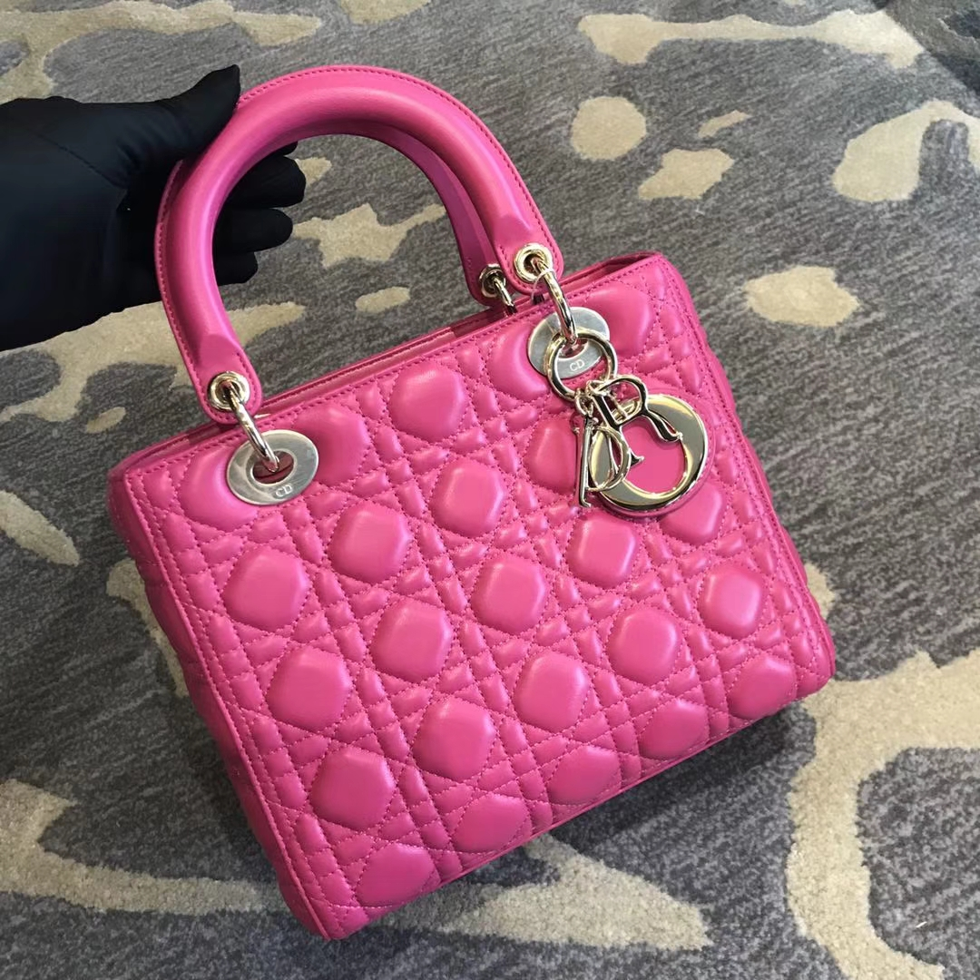 Dior 迪奥 经典羊皮 戴妃包 Lady Dior五格24cm 桃红色 玫红