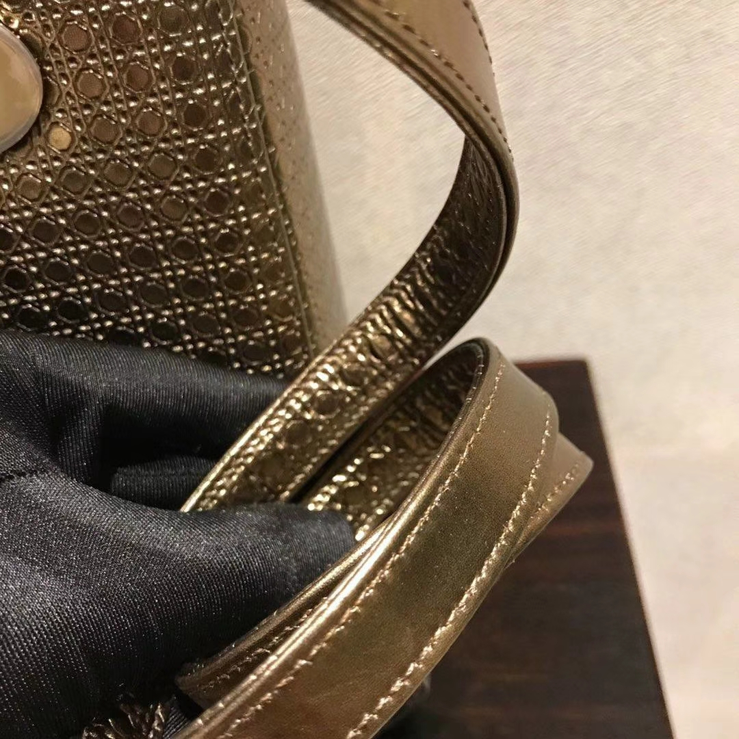 Dior 迪奥 戴妃包 Lady Dior 牛皮压纹 复古风 古铜金色