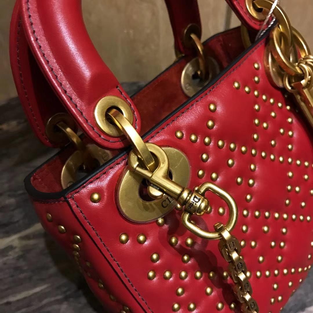 Dior 迪奥 定制版小号17cm铆钉包 戴妃包 Lady Dior mini 红色 爱心扣