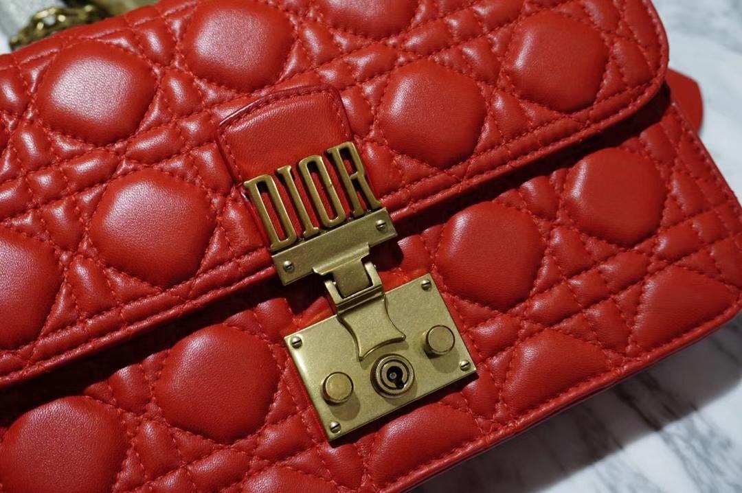 Dior 迪奥 Miss红色羊皮 链条包21cm  意大利原厂正品水染小羊皮制作