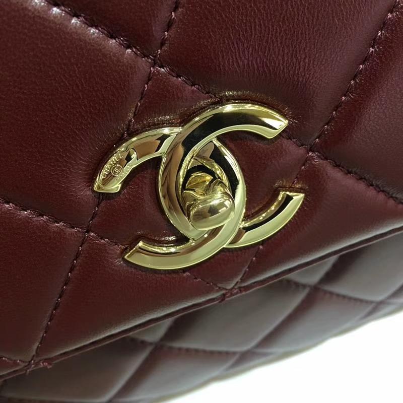 Chanel 香奈儿 Trendy Cc 酒红色 香槟金扣 小羊皮