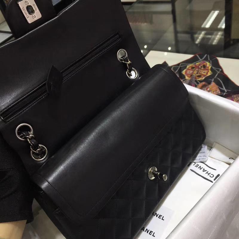 Chanel 香奈儿 CF 经典系列 小羊皮 黑色 25cm 银扣 现货
