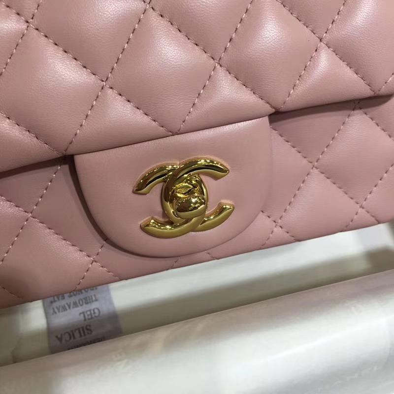 Chanel 香奈儿 CF 经典系列 小羊皮 浅粉 17cm 金扣 现货