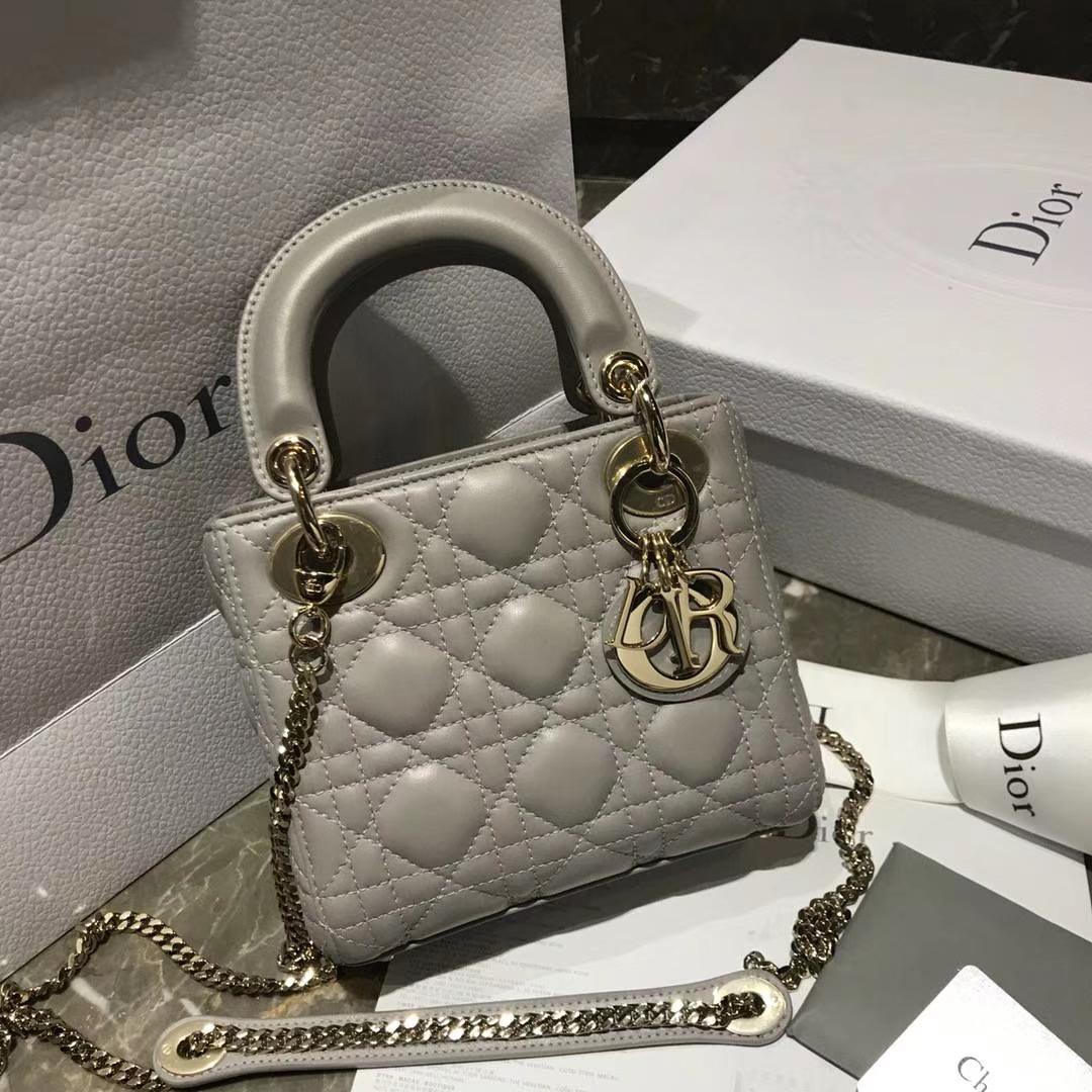 Dior 迪奥 小号 羊皮 灰色 金扣三格戴妃包