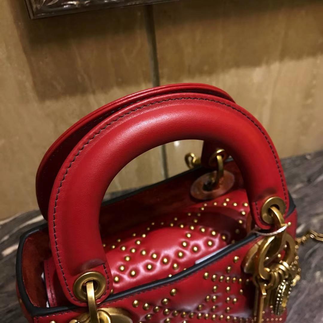 Dior mini铆钉包 整包1000颗钉手工打制 红色 经典款 明星同款